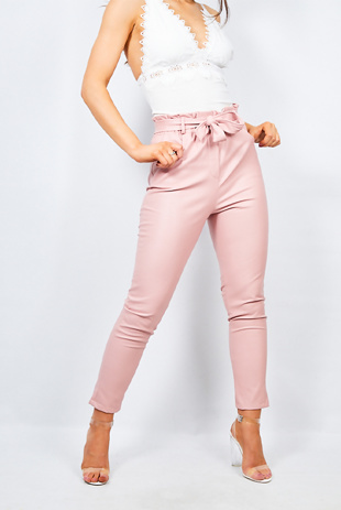 Pink Pu Paperbag Waist Tapered Trouser