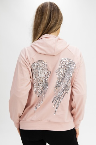 Pink Sequin Angel Wings Hoodie