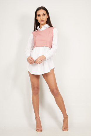 Pink Two Tone PU Contrast Shirt