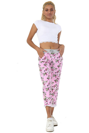 Rose and White Floral Print Trouser