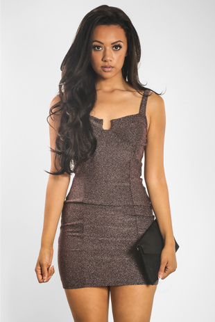 Plum Glitter Bralet Bodycon Dress