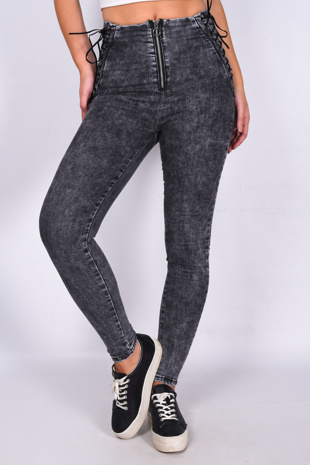 Charcoal Denim Zip Front lace Up Detail Skinny Jeans