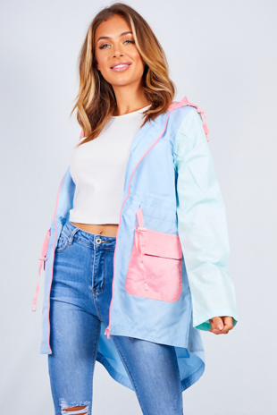 Pale Blue Colour Block Hooded Rain Mac