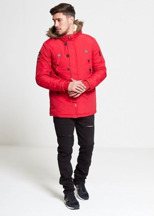 Mens Red Hooded Parka