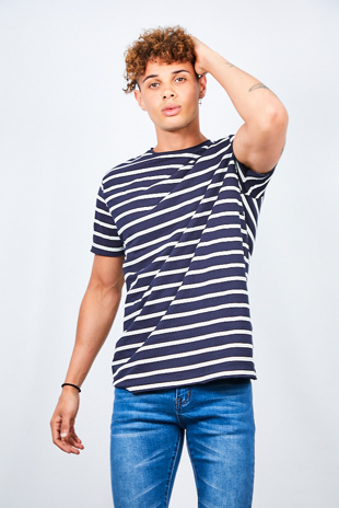 Mens Navy Rolled Detail Striped Crew Neck T-Shirt