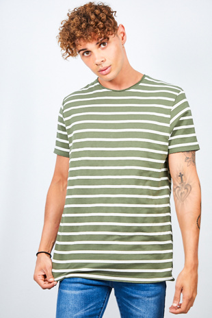 Khaki Rolled Detail Striped Crew Neck T-Shirt