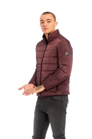 Mens Burgundy Funnel Neck Puffer Jacket