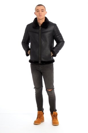 Mens Black Faux Leather Jacket