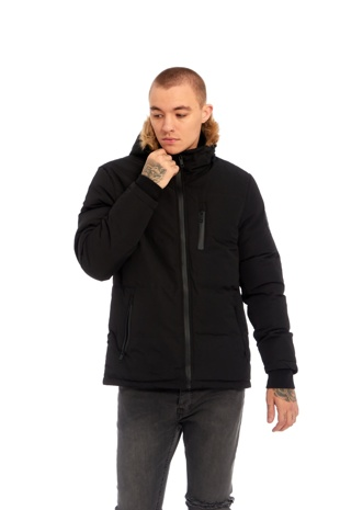 Mens Black WindBreaker Polar Parka