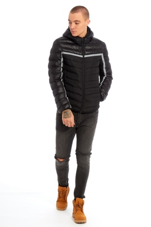 Mens Black Stripe Puffer Jacket