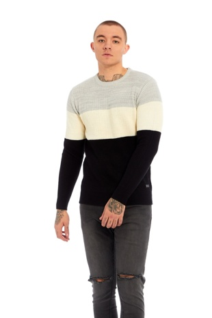 Mens Black Two-Tone Knitted Jumper