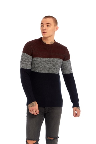 Mens Two-Tone Knitted Jumper