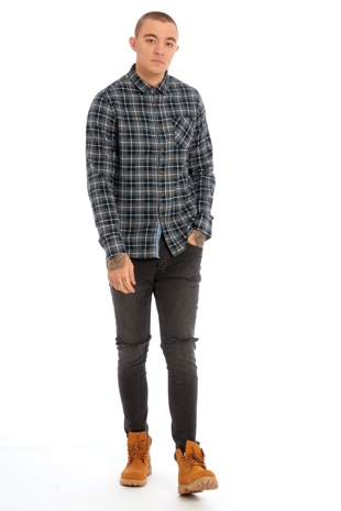Mens Grey Long Sleeved Checked Shirt