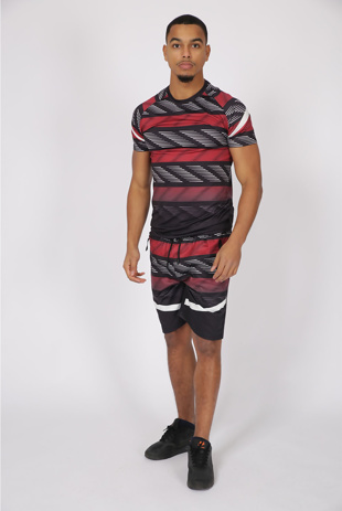 Men Red Abstract Striped Muscle Fit Short Set