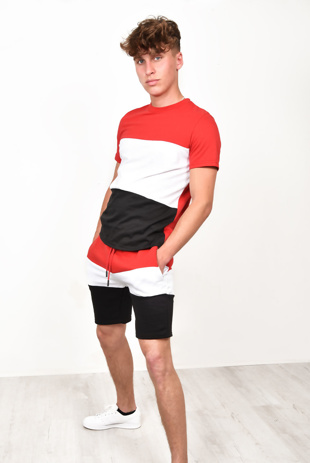 Men Summer Colour Block Short Tracksuit in Red