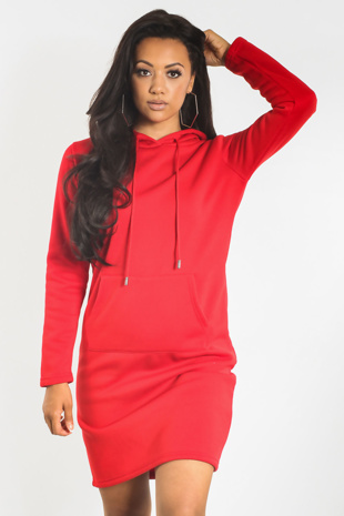 Red Kangaroo Pocket Hood Jumper Dress