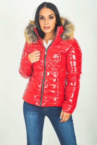 Red Patent Fur Hood Puffer Jacket