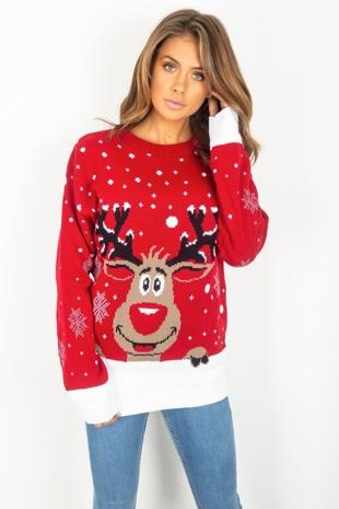 Red Reindeer Knitted Christmas Jumper