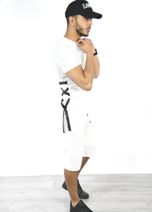 White Lace Up Ribbed T-Shirt And Shorts Set