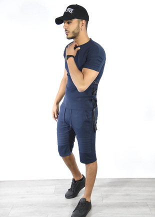 Navy Lace Up Ribbed T-Shirt And Shorts Set