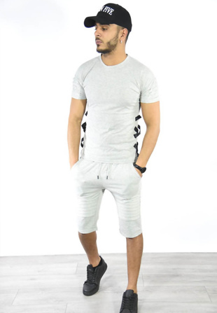 Grey Lace Up Ribbed T-Shirt And Shorts Set