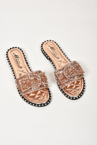 Rose Gold Diamante Bow Sandals