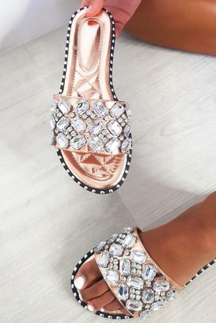 Rose Gold Jewelled Slip On Sandals
