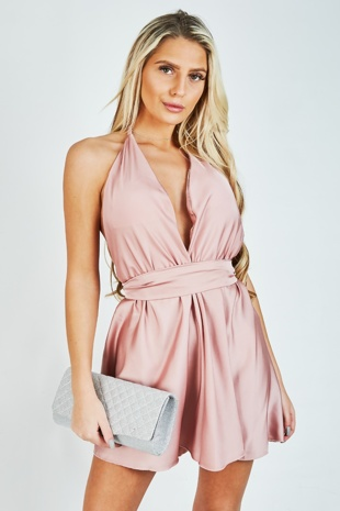 Rose Gold Satin Halter Tie Playsuit