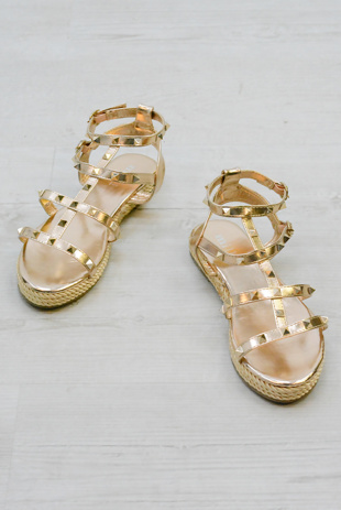 Rose Gold Studded Gladiator Espadrille Platform Wedge