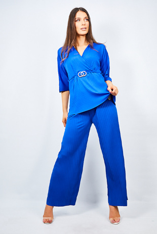 Royal Blue Belt Detail Pleated Wide Leg Lounge Set