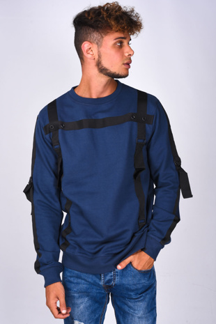 Mens Navy Strap Taped Long Sleeve Sweatshirt