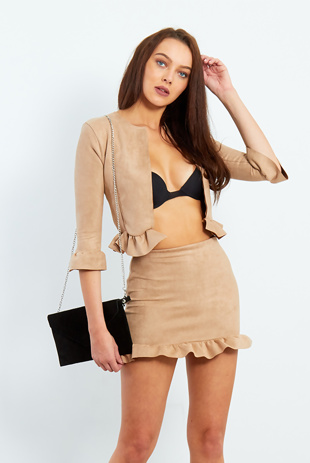 Camel Faux Suede Frill Hem Mini Skirt