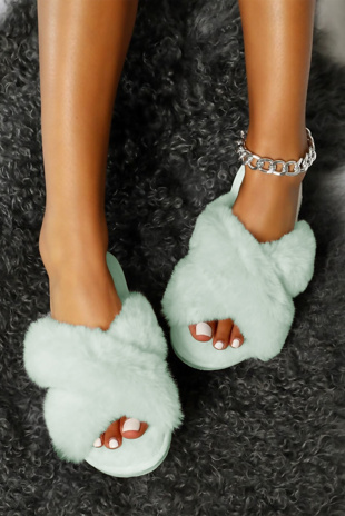 Sky Blue Faux Fur Cross Strap Slider Slippers
