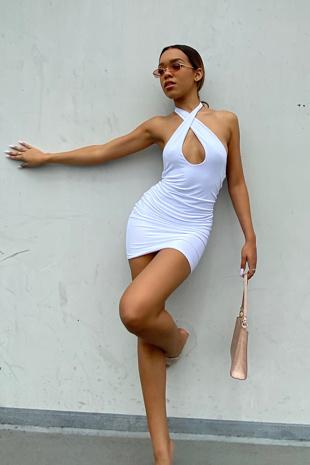 White Slinky Cross Front Backless Halter Mini Dress