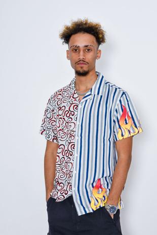 Men Swirl Flame Printed Short Sleeve Shirt