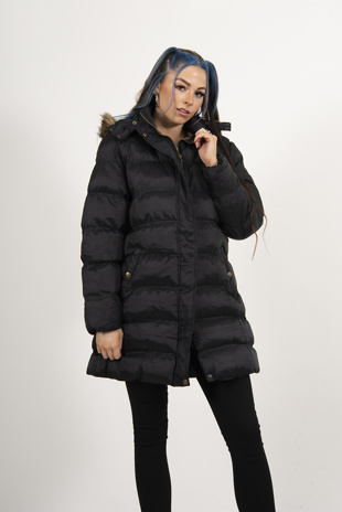 Black Hooded Longline Puffer Coat