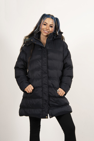 Navy Hooded Longline Puffer Coat