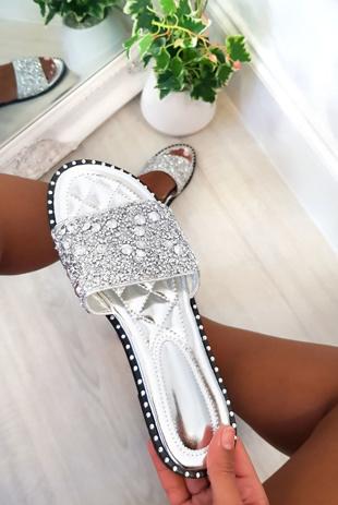 Silver Embellished Slip On Sandals
