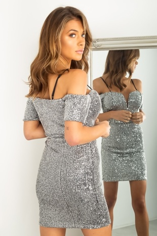 Silver Sequin V Bar Cup Detail Bodycon Dress