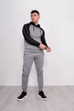 Mens Silver With Royal Stripe Raglan Tracksuit