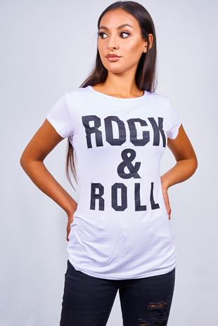 White Rock And Roll Slogan T-shirt