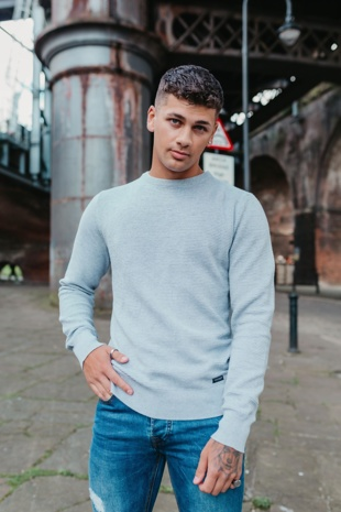 Mens Grey Textured Knitted Jumper