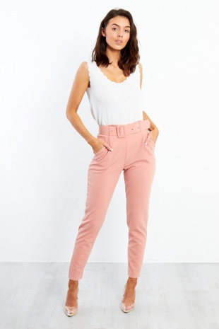 TR25- Pink High Waist Belted Tapered Trouser
