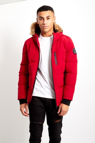 Red Mens WindBreaker Polar Parka