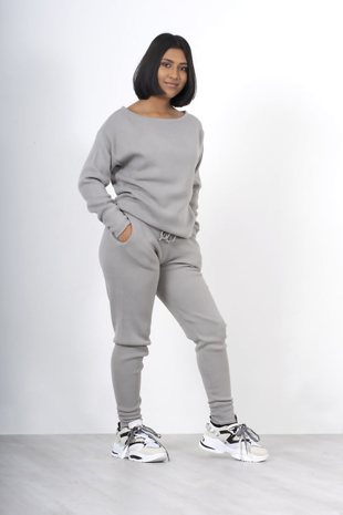 Silver loungewear knitted joggers and jumper set