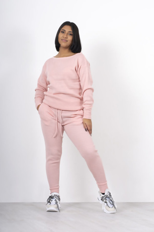 Pink loungewear knitted joggers and jumper set