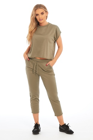 Khaki Short Sleeve Top Tracksuit
