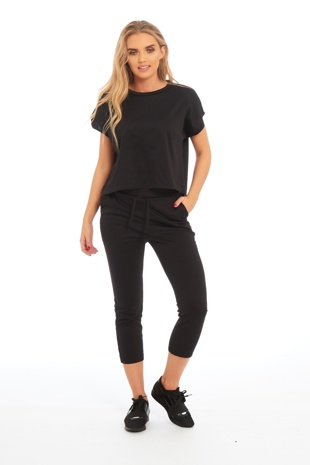 Black Short Sleeve Top Tracksuit