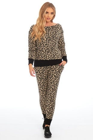 Beige Leopard Knitted Loungewear Set