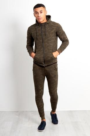 Khaki Camo Pattern Skinny Tracksuit